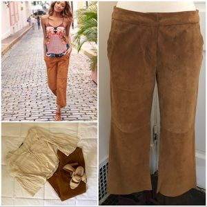Express genuine suede flat front culottes
